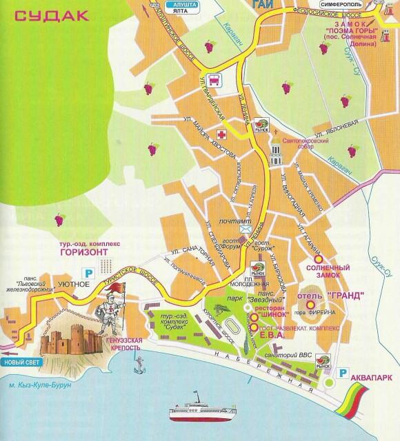Карта Судака